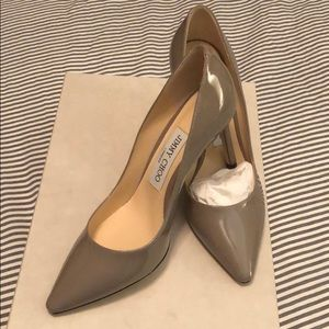 NIB Jimmy Choo patent grey heels, sz. 35.5